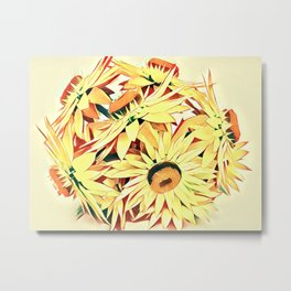 Yellow Golden Strawflower Metal Print