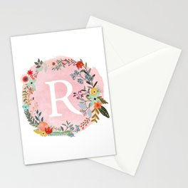 Flower Wreath with Personalized Monogram Initial Letter R on Pink Watercolor Paper Texture Artwork Stationery Cards