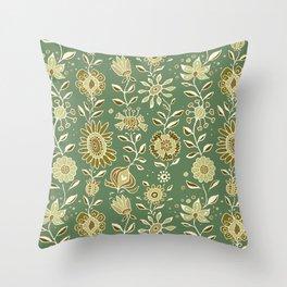 wonky wildflower waterfall ... tan & greens Throw Pillow