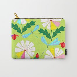 Green Spring Damselflies, Lady Bugs and Daisies Carry-All Pouch