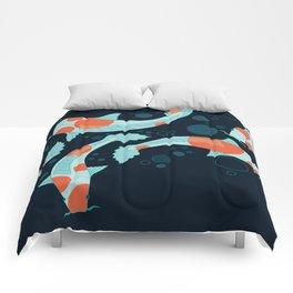 Koi Carps in a Blue-Black Pond Comforters
