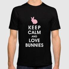 Keep Calm and Love Bunnies Black Mens Fitted Tee MEDIUM