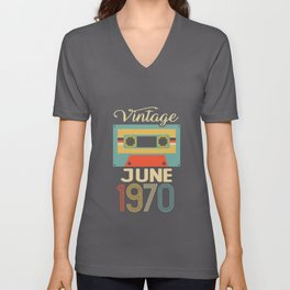 Vintage June 1970 50th Birthday 50 Year Old Gift Unisex V-Neck