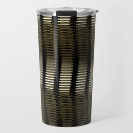 Spinning Columns - Gold - Futuristic Industrial Sci-Fi Pattern Travel Mug