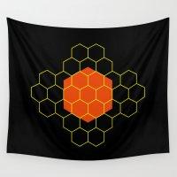 hexagon Wall Tapestries featuring HEXAGON by KARNATARKA