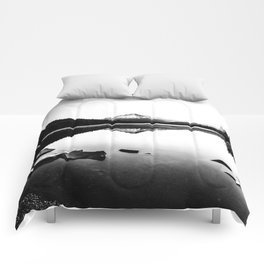 Fantastic Morning - Mount Hood Reflection Black and White Comforters