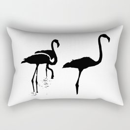 Three Flamingos Black Silhouette Isolated Rectangular Pillow