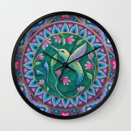 Hummingbird Mandala Wall Clock