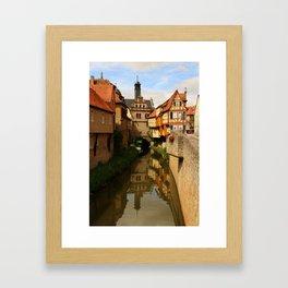 Medieval Village Reflection Framed Art Print