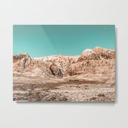 Mojave Red Rocks // Desert Landscape Cactus Mountain Range Teal Blue Skyline Metal Print