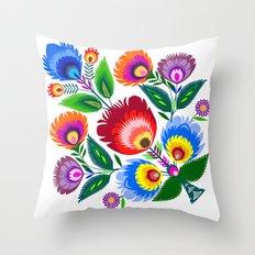 colorful folk flowers Throw Pillow