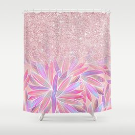 Girly pink artsy floral pink glitter Shower Curtain