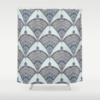 deco Shower Curtains featuring Deco Doodle in Aqua, Cream & Navy Blue by micklyn