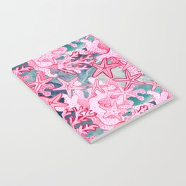 Pink Starfish and coral watercolor reef Notebook