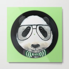 Fancy Panda on Vinyl Metal Print