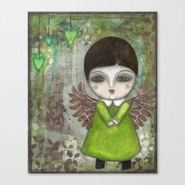 Mixed Media Green Angel Doll Canvas Print
