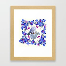 WHITE ART  BLUE MORNING GLORIES & WHITE IRIS Framed Art Print