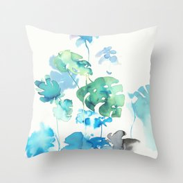 Tropical leaves, (collab Dylan Silva!) Throw Pillow