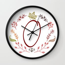 Floral O letter Wall Clock