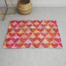 red Hearts mixed media pattern Rug