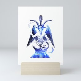 Blue Baphomet Goat with Satanic symbols Mini Art Print