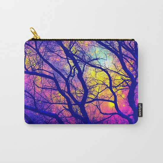 Black Trees Deep Bright & Colorful Space Carry-All Pouch