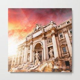 trevi fountain at sunset Metal Print