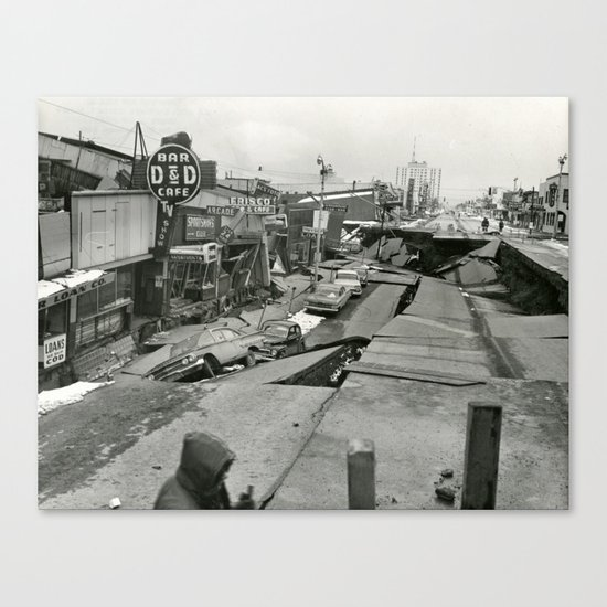 Disaster old photo Canvas Print