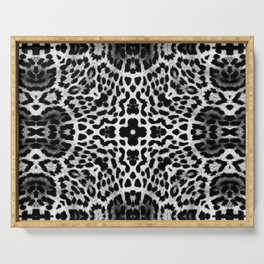 abstract animal print grayscale Serving Tray