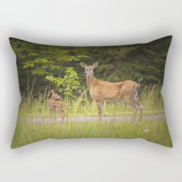 Doe and Fawn along a roadside near Iron Mountain Michigan Rectangular Pillow