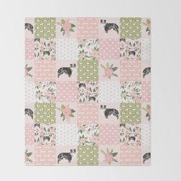 Australian Shepherd Patchwork - purple floral, flowers, dog, dogs, aussie dog, cute dogs, dog blanke Throw Blanket