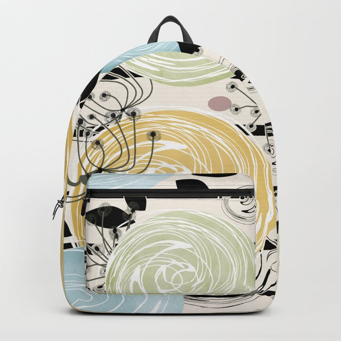 Retro . Abstract floral pattern on a striped background . Backpack