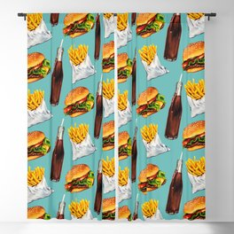 Cheeseburger Fries & Soda Pattern Blackout Curtain