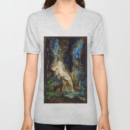 Fairy and Griffon on the Fairy Queen's Woodland Throne by Gustave Moreau Unisex V-Neck