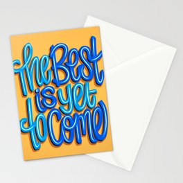 The Best Is Yet To Come (Version 2) Orange, Deep Blue & Light Blue // Quote Hand Lettering Art Stationery Cards