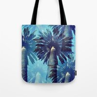 palm trees Tote Bags featuring palm trees by JoanaRosaC