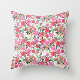 spring floral bunny hiding Throw Pillow