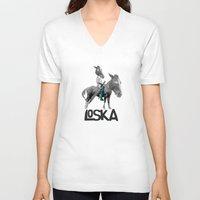 warrior V-neck T-shirts featuring Warrior by LOSKA