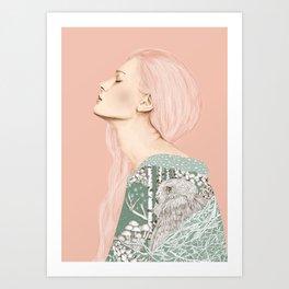 Women & Owl Pastel Art Print