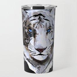 White Tiger with Blue Eyes Travel Mug