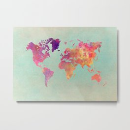 world map 102 #worldmap #map Metal Print