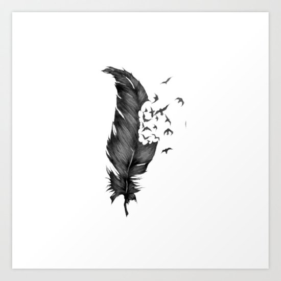 Black Feather into Birds Art Print
