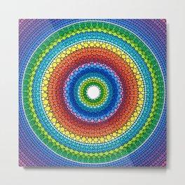 Happy Rainbow Mandala Metal Print