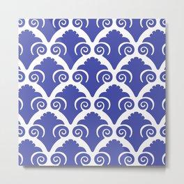 Scallop Pattern Blue Metal Print