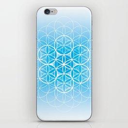 THE FLOWER OF LIFE - MANDALA ON BLUE iPhone Skin