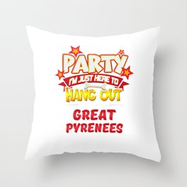 Great Pyrenees Dog Party Throw Pillow