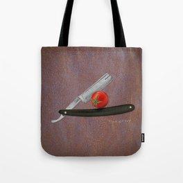 straight razor and tomato Tote Bag
