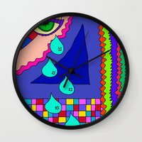 blankets Wall Clocks featuring Abstract 34 by Linda Tomei