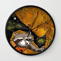 superheros Wall Clocks featuring We are Groot by Tiffany Saffle