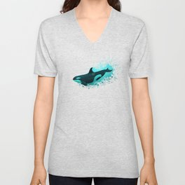 """Lost in Paradise"" by Amber Marine ~ Killer Whale ~ Orca ~ Original Version ~ (Copyright 2015) Unisex V-Neck"